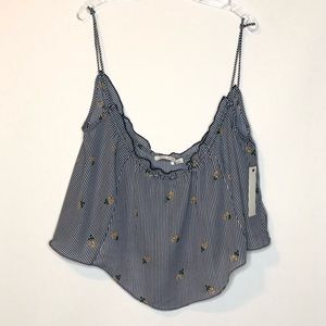 Bishop + Young Womens Tank Cami S Blue Stripe NEW